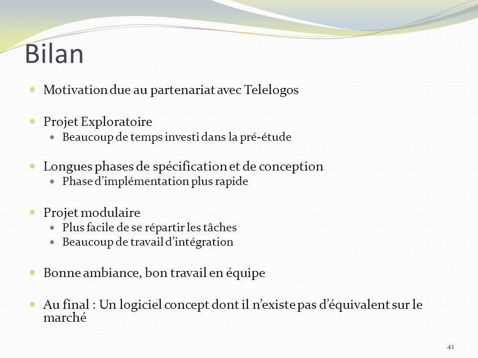 Bilan Motivation due au partenariat avec Telelogos Projet Exploratoire