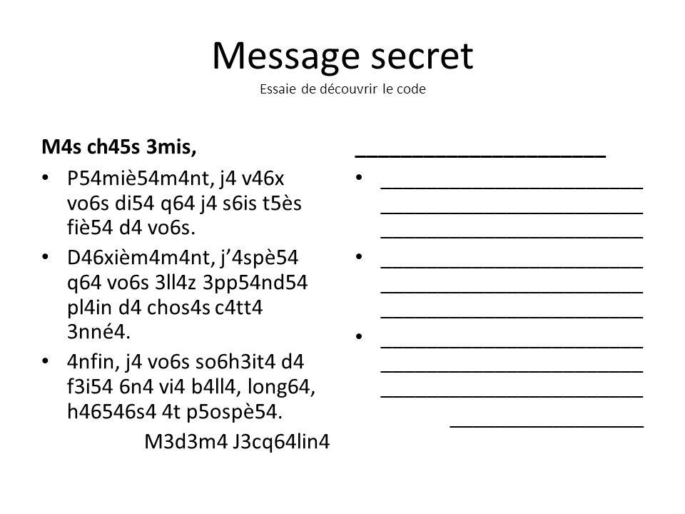 Message secret Essaie de découvrir le code