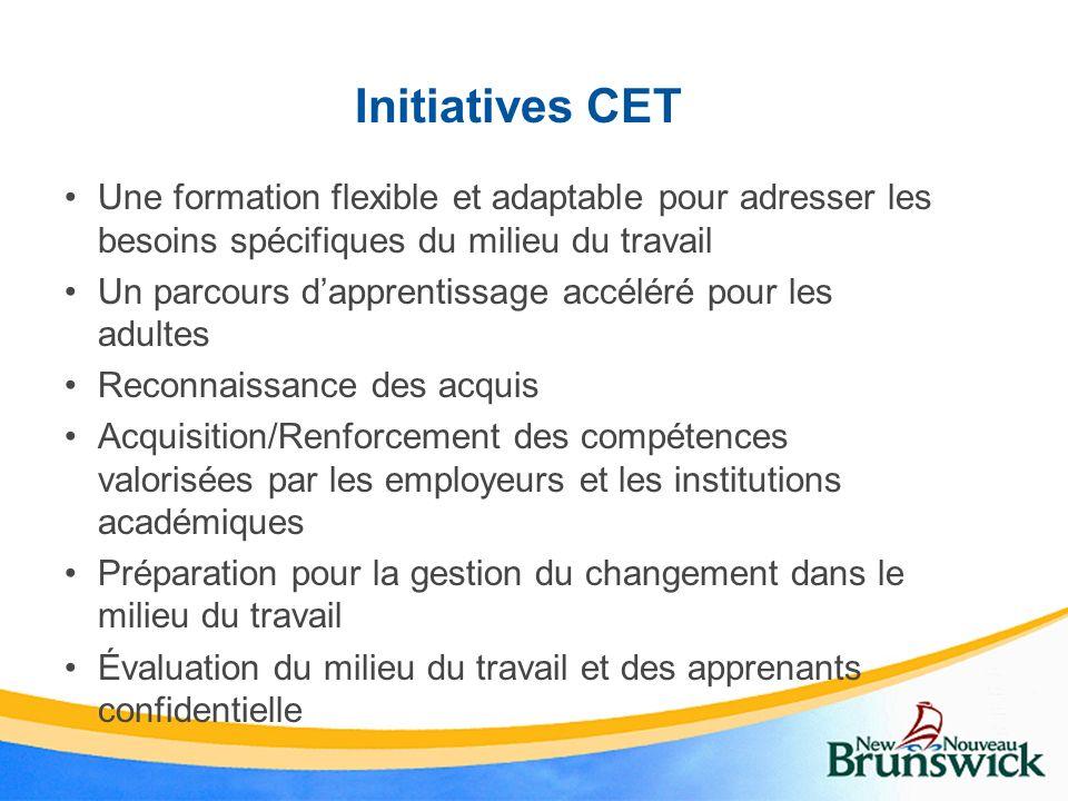 Initiatives CET Une formation flexible et adaptable pour adresser les besoins spécifiques du milieu du travail.