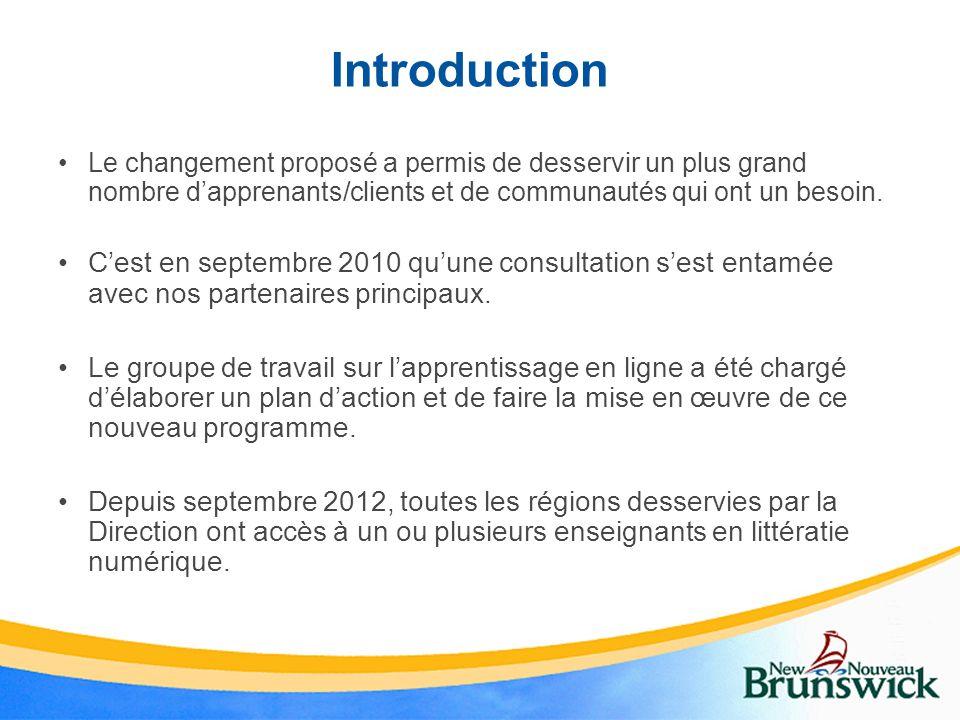 Introduction Le changement proposé a permis de desservir un plus grand nombre d'apprenants/clients et de communautés qui ont un besoin.