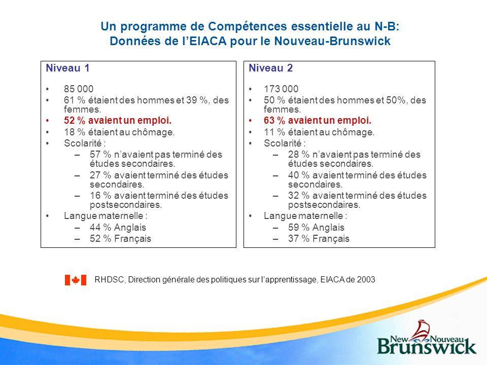 Un programme de Compétences essentielle au N-B: Données de l'EIACA pour le Nouveau-Brunswick