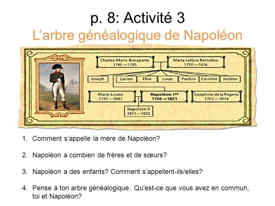 p. 8: Activité 3 L'arbre généalogique de Napoléon