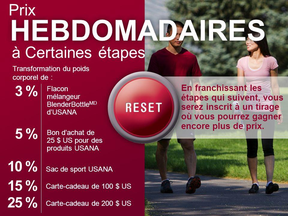 HEBDOMADAIRES Prix à Certaines étapes 3 % 5 % 10 % 15 % 25 %