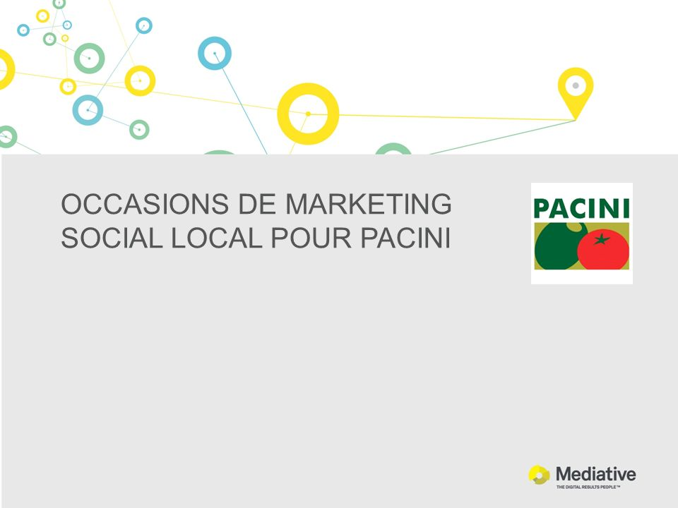 OCCASIONS DE MARKETING SOCIAL LOCAL POUR PACINI