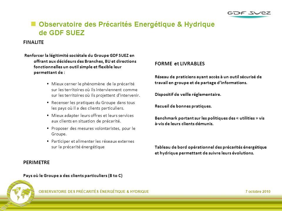 Observatoire des Précarités Energétique & Hydrique de GDF SUEZ