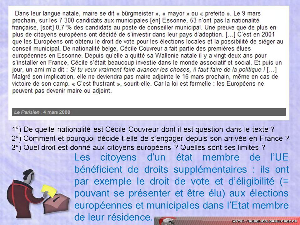 1°) De quelle nationalité est Cécile Couvreur dont il est question dans le texte