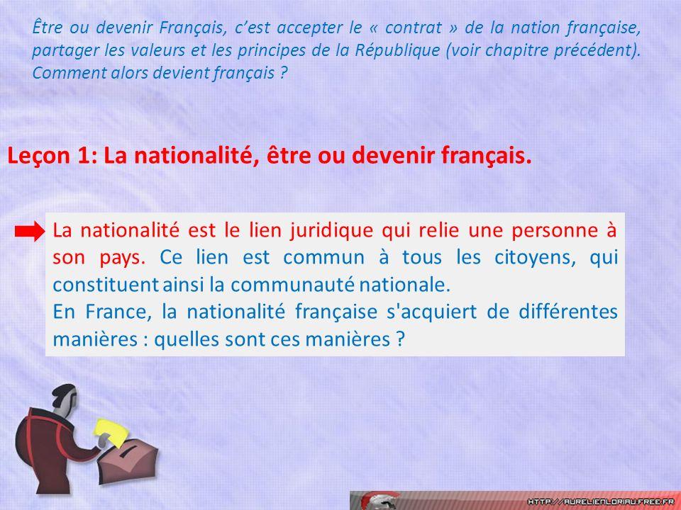 Leçon 1: La nationalité, être ou devenir français.
