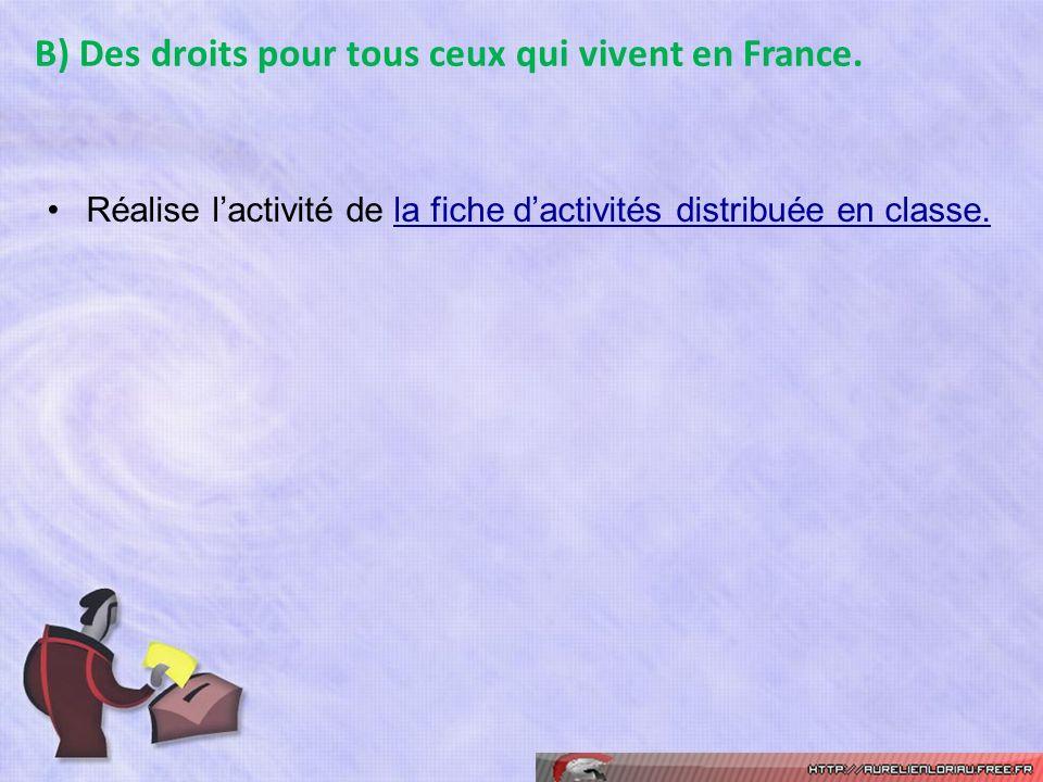 B) Des droits pour tous ceux qui vivent en France.