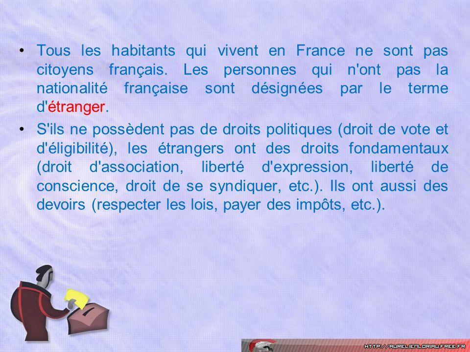 Tous les habitants qui vivent en France ne sont pas citoyens français