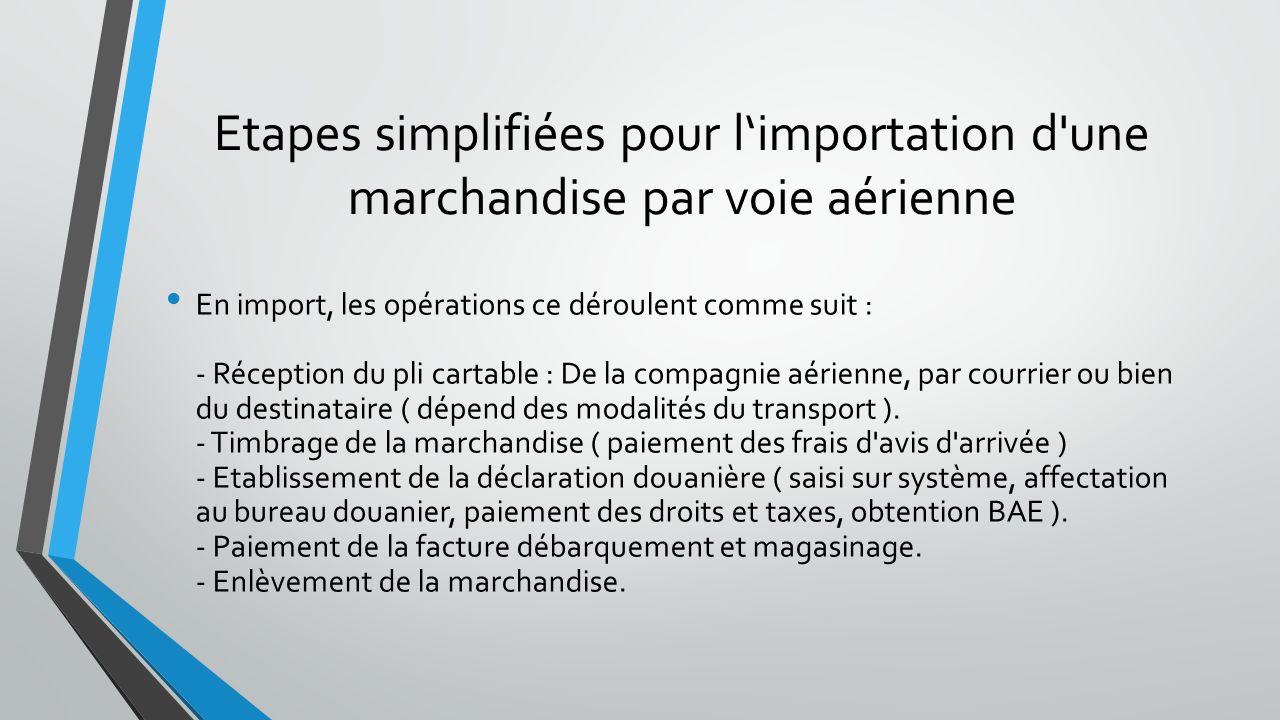 Etapes simplifiées pour l'importation d une marchandise par voie aérienne