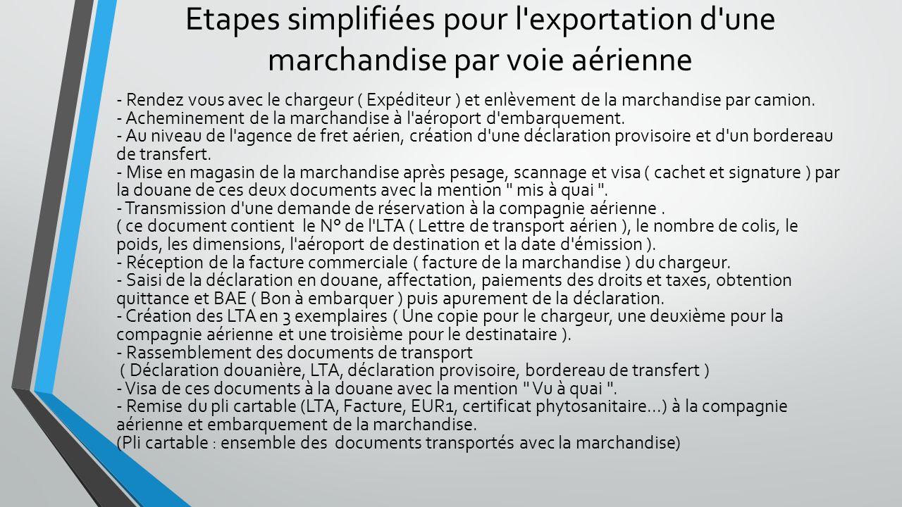 Etapes simplifiées pour l exportation d une marchandise par voie aérienne