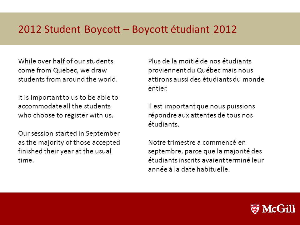 2012 Student Boycott – Boycott étudiant 2012