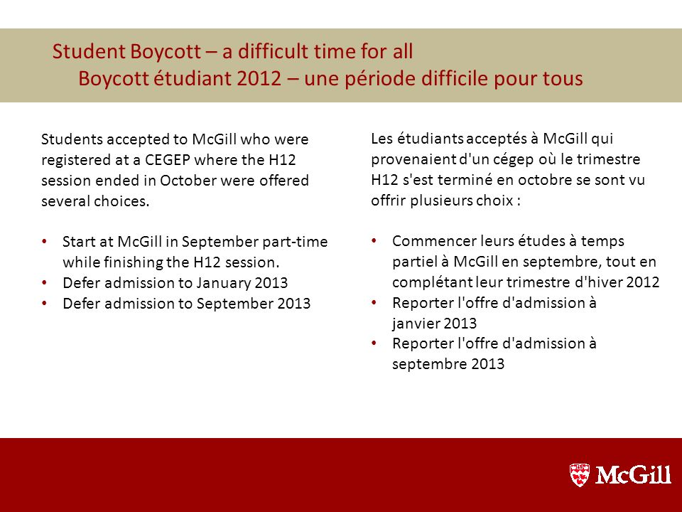 Student Boycott – a difficult time for all
