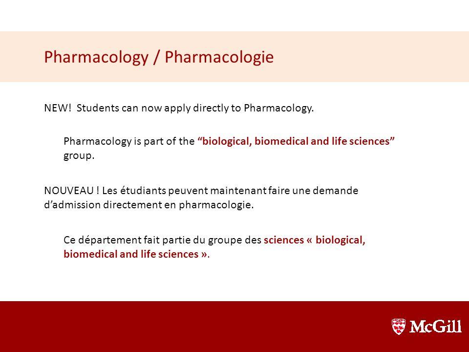 Pharmacology / Pharmacologie