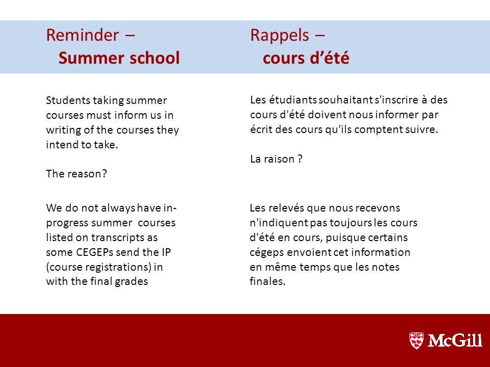 Reminder – Summer school Rappels – cours d'été