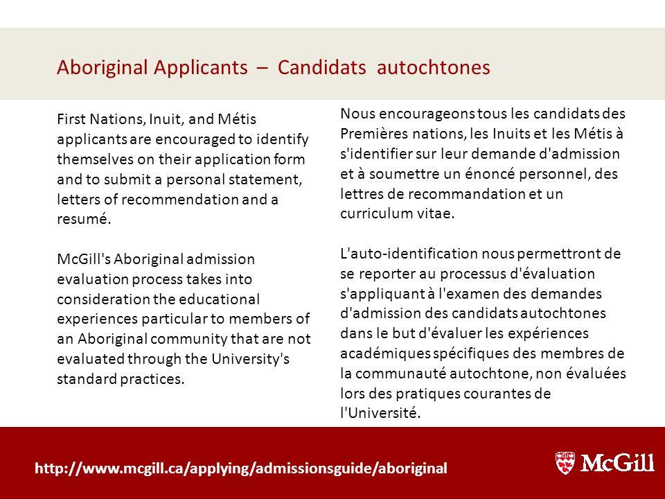 Aboriginal Applicants – Candidats autochtones