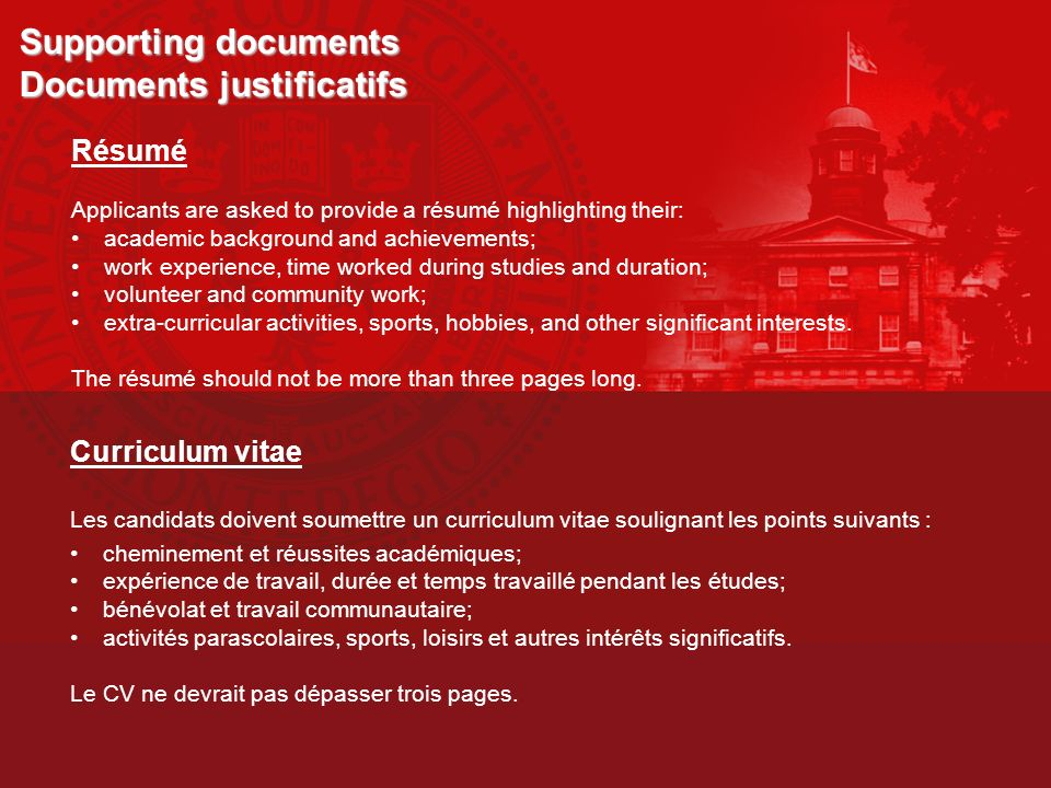Supporting documents Documents justificatifs