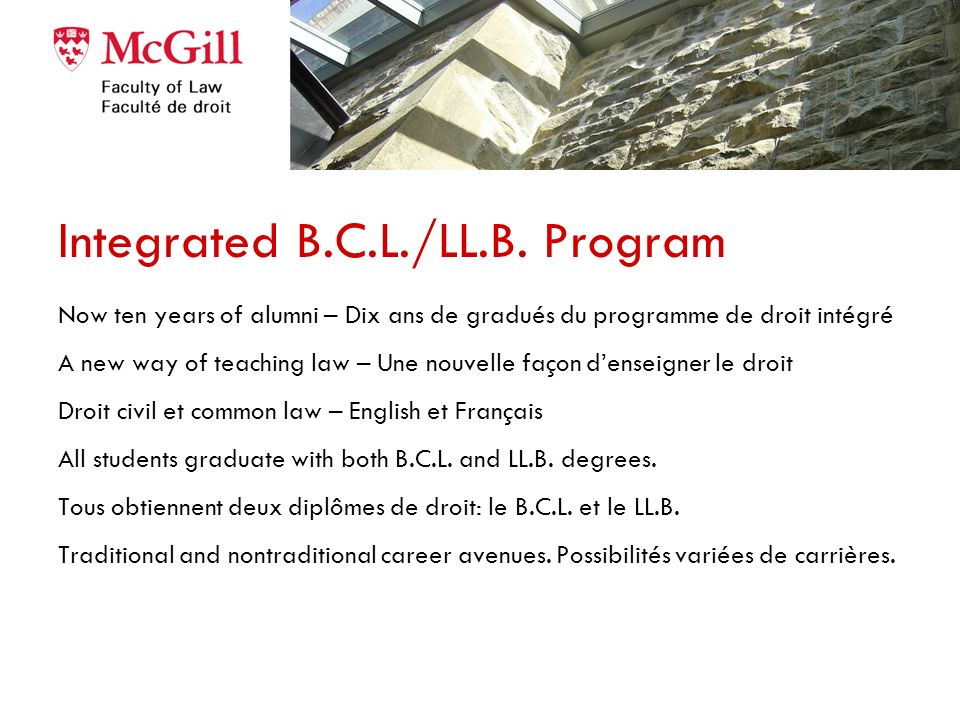 Integrated B.C.L./LL.B. Program