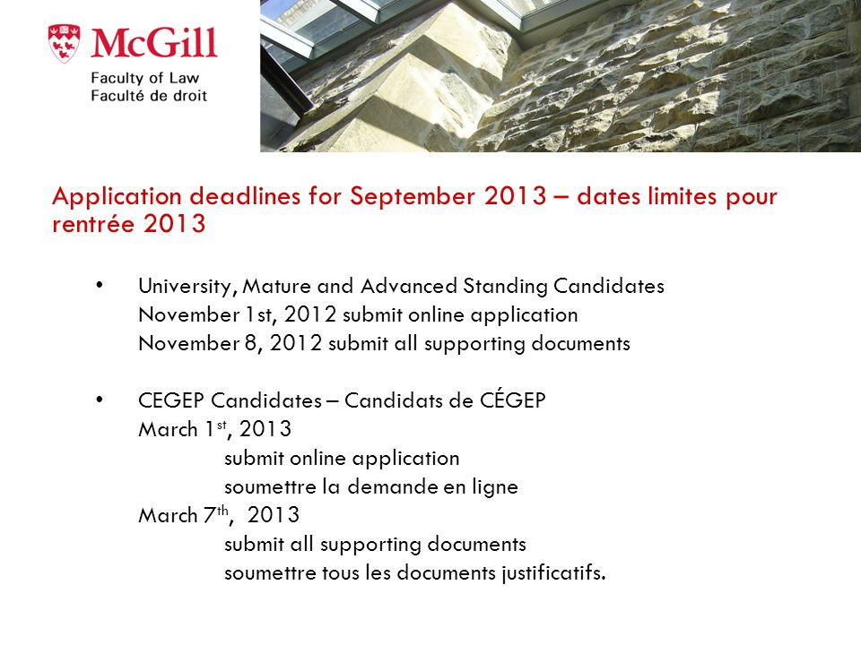 Application deadlines for September 2013 – dates limites pour rentrée 2013