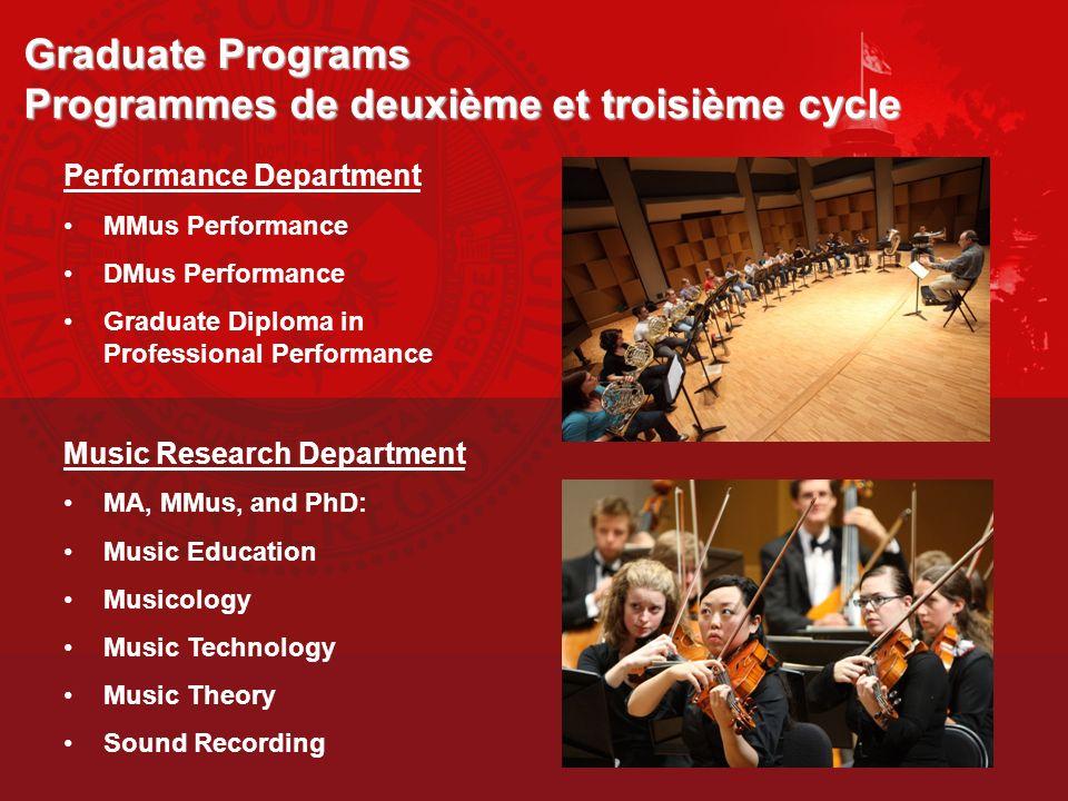 Graduate Programs Programmes de deuxième et troisième cycle