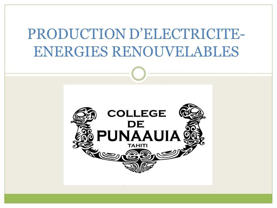 PRODUCTION D'ELECTRICITE- ENERGIES RENOUVELABLES