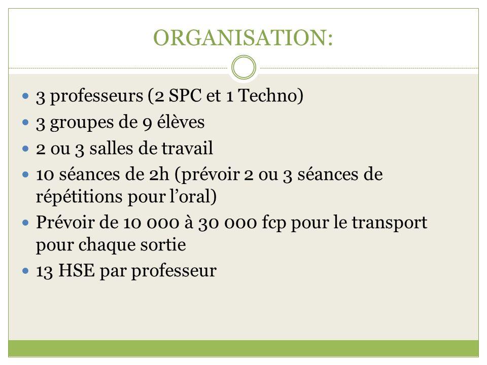 ORGANISATION: 3 professeurs (2 SPC et 1 Techno) 3 groupes de 9 élèves