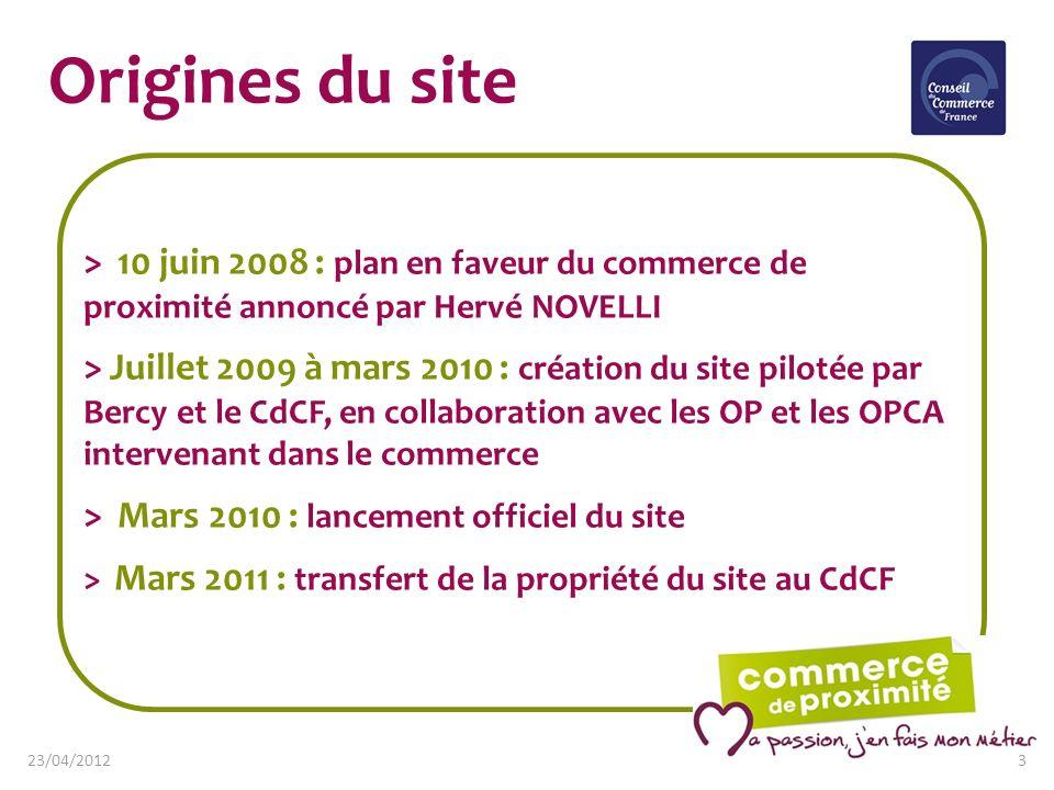 Origines du site> 10 juin 2008 : plan en faveur du commerce de proximité annoncé par Hervé NOVELLI.