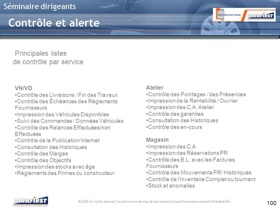 Contrôle et alerte Principales listes de contrôle par service VN/VO