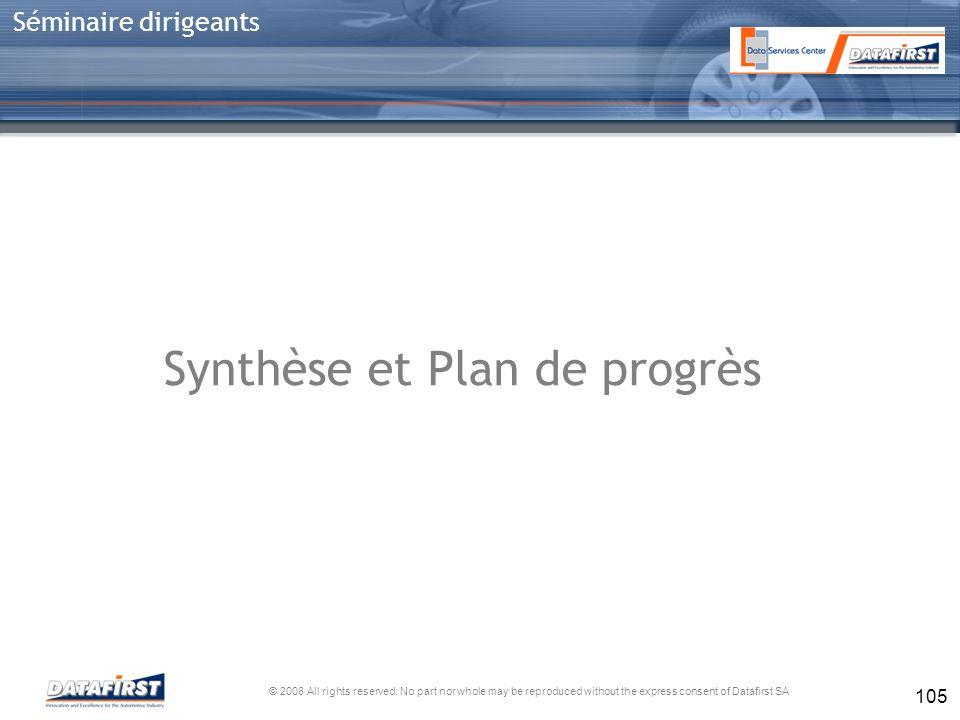 Synthèse et Plan de progrès