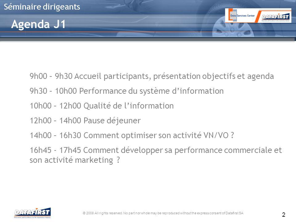 Agenda J1 9h00 – 9h30 Accueil participants, présentation objectifs et agenda. 9h30 – 10h00 Performance du système d'information.