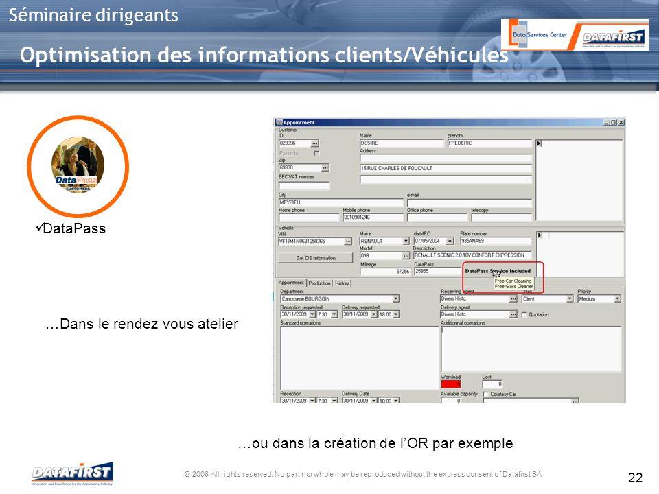 Optimisation des informations clients/Véhicules