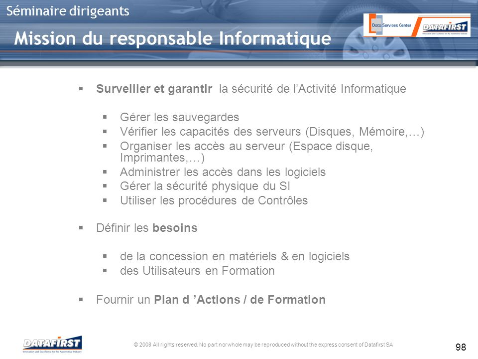 Mission du responsable Informatique