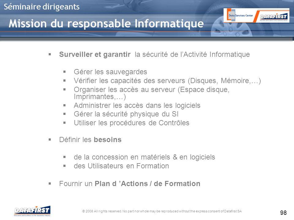 Mission du responsable Informatique