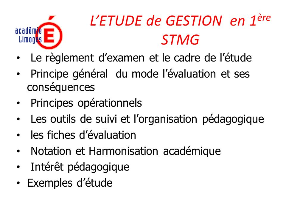 L'ETUDE de GESTION en 1ère STMG