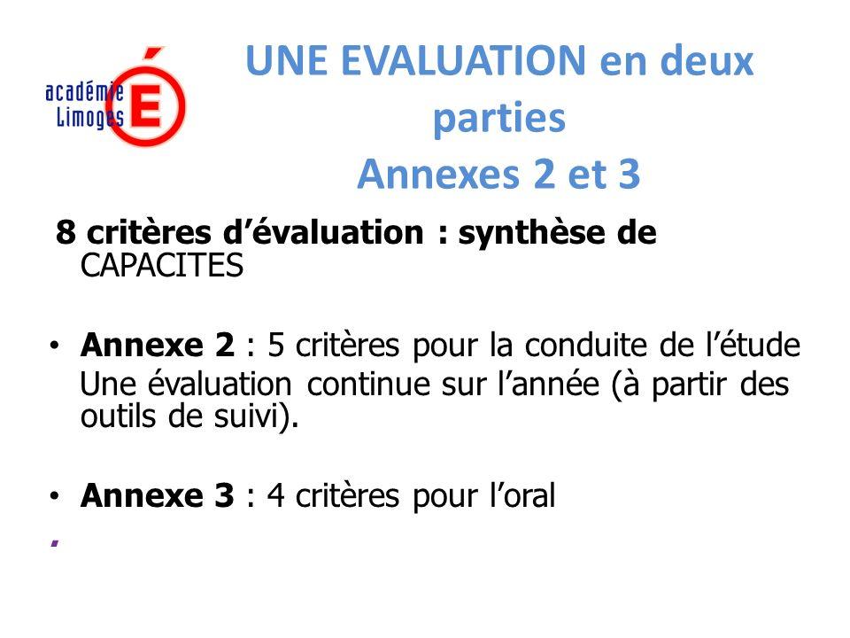 UNE EVALUATION en deux parties Annexes 2 et 3