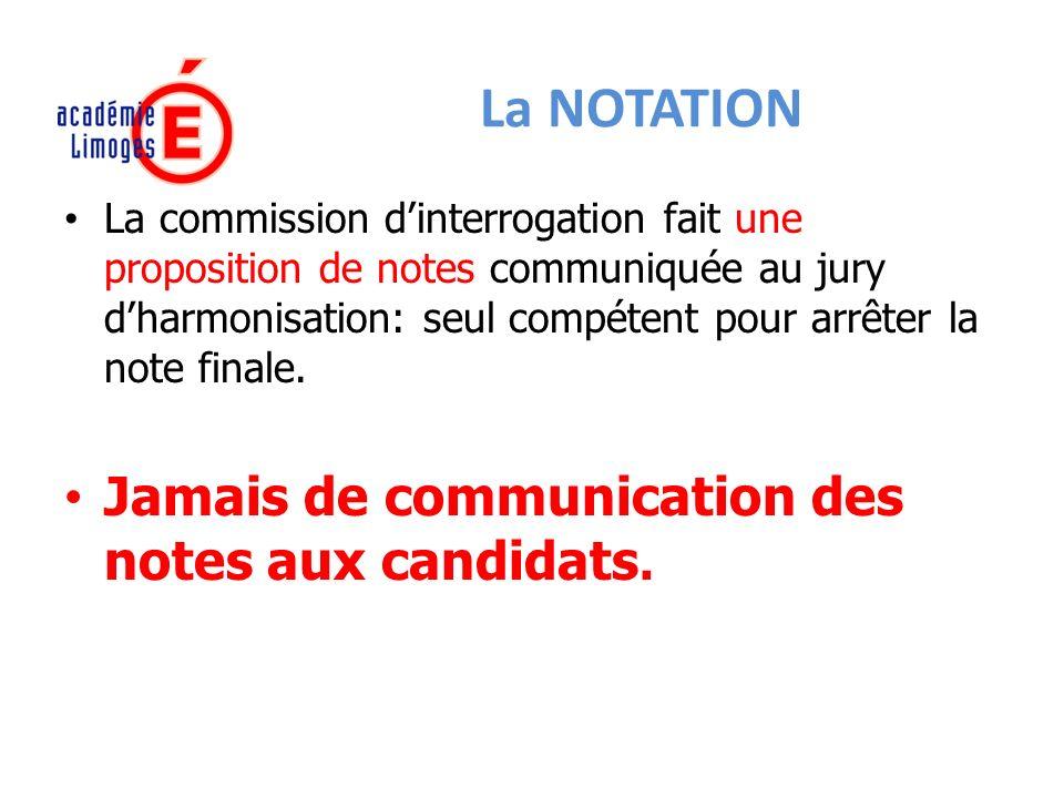 La NOTATION Jamais de communication des notes aux candidats.