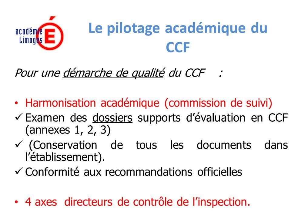 Le pilotage académique du CCF