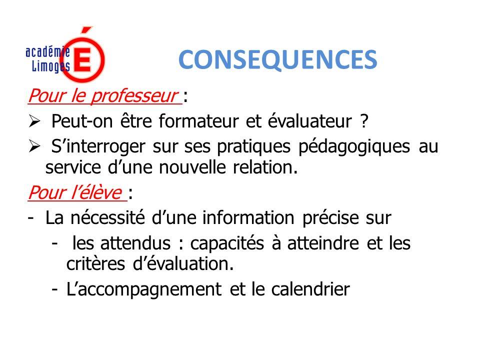 CONSEQUENCES Pour le professeur :