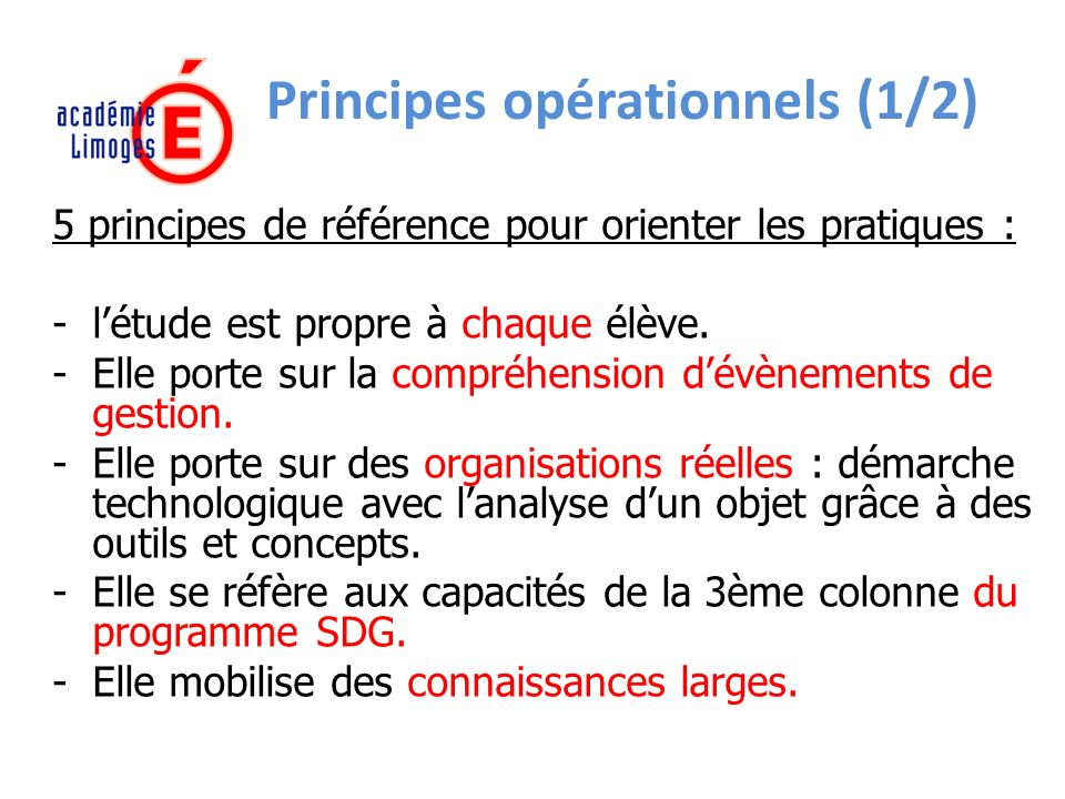 Principes opérationnels (1/2)
