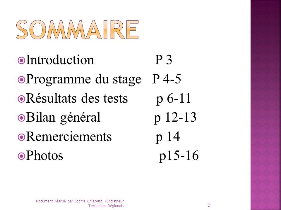 Sommaire Introduction P 3 Programme du stage P 4-5