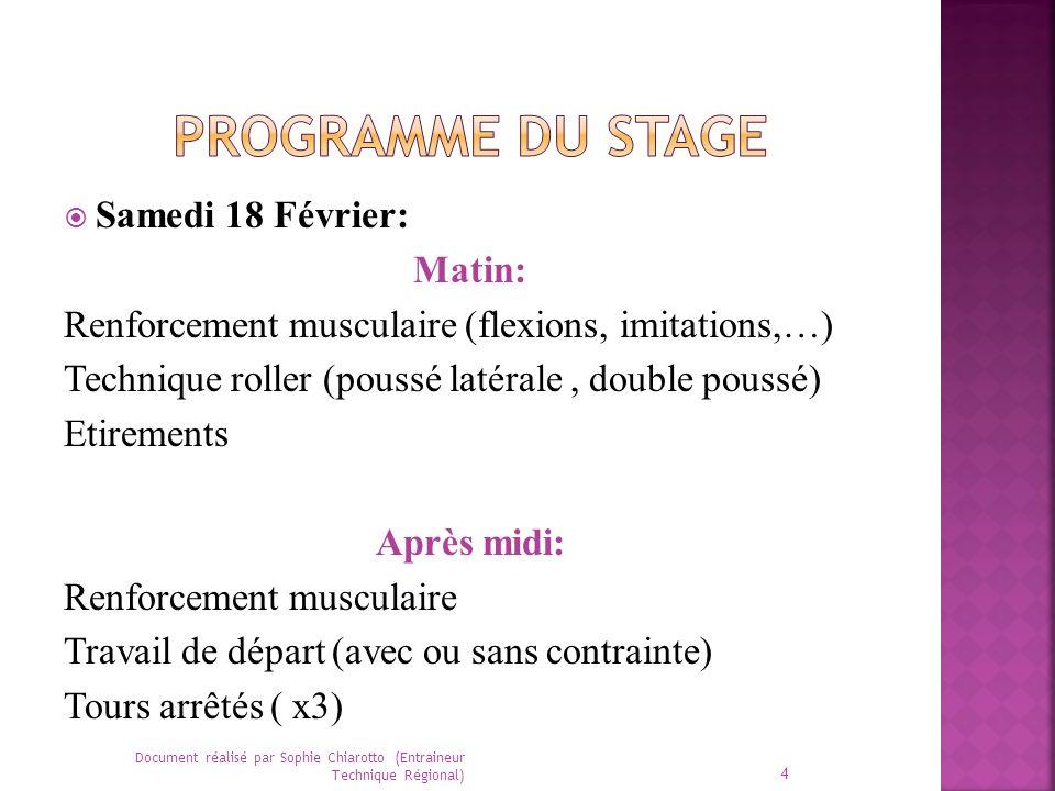 Programme du stage Samedi 18 Février: Matin: