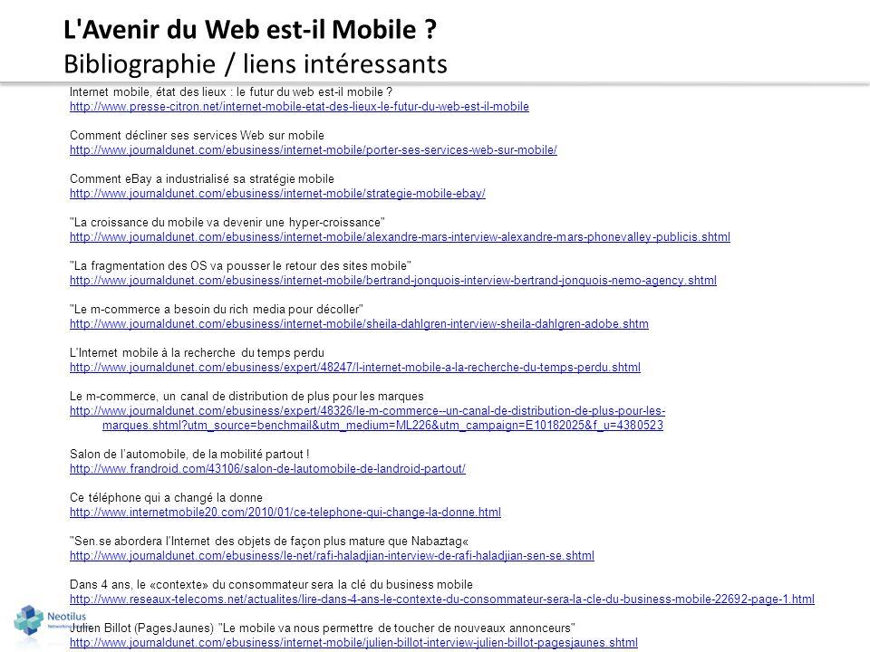 L Avenir du Web est-il Mobile Bibliographie / liens intéressants