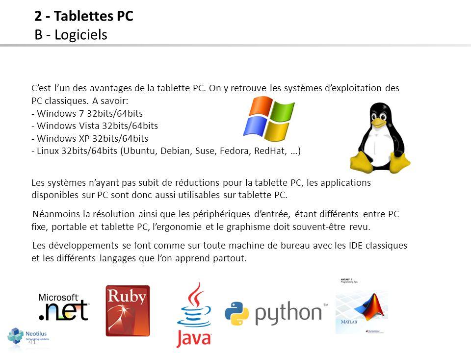 2 - Tablettes PC B - Logiciels