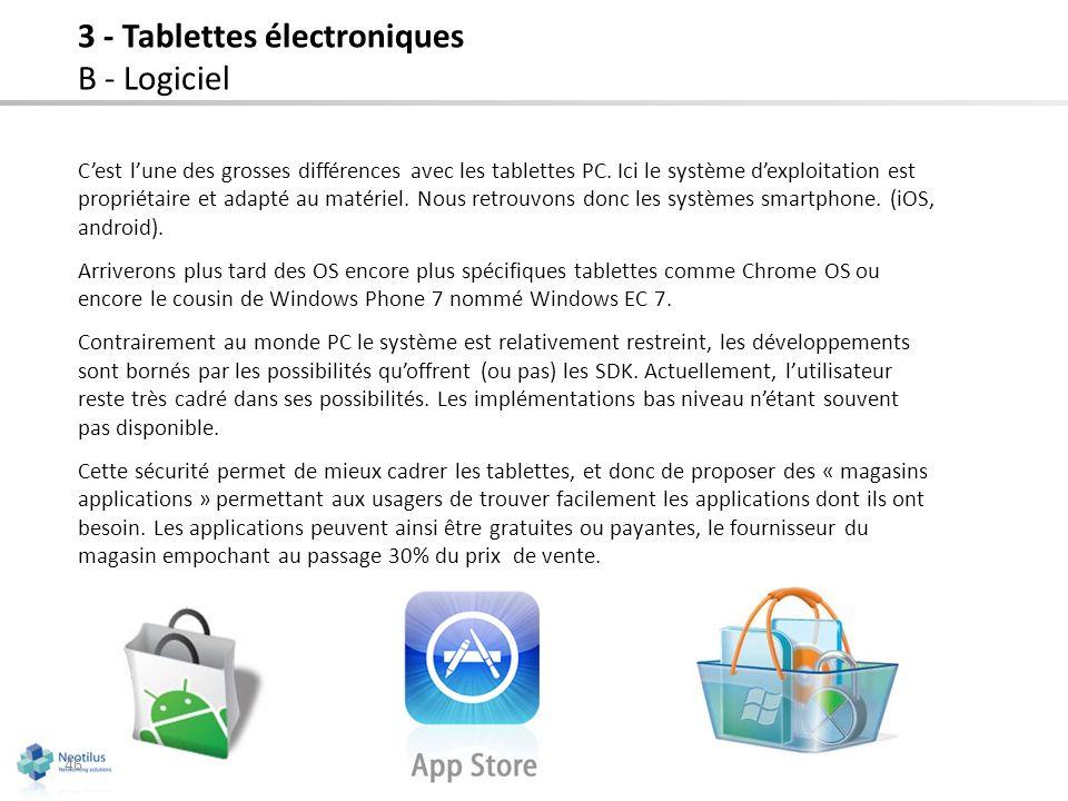 3 - Tablettes électroniques B - Logiciel