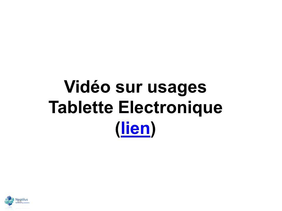 Vidéo sur usages Tablette Electronique (lien)