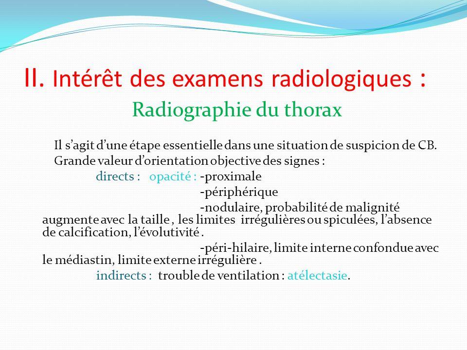 II. Intérêt des examens radiologiques :