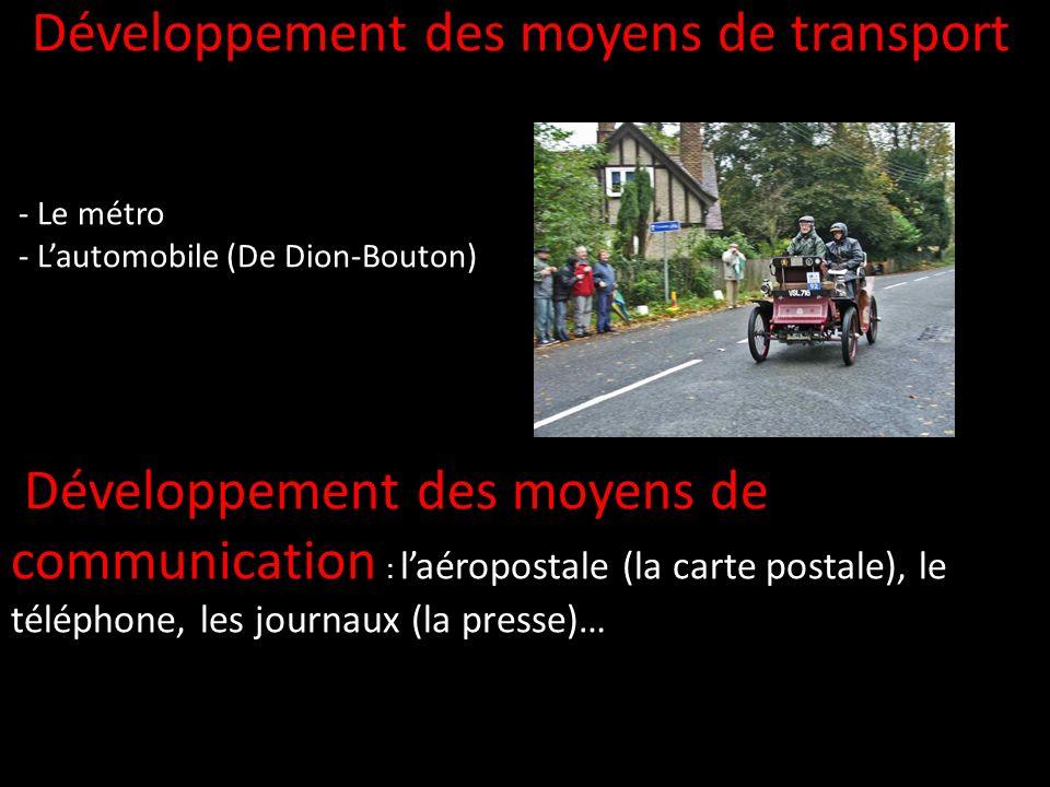 Développement des moyens de transport