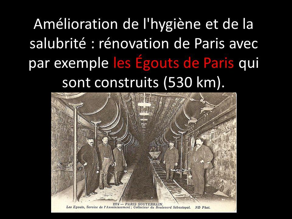 Amélioration de l hygiène et de la salubrité : rénovation de Paris avec par exemple les Égouts de Paris qui sont construits (530 km).
