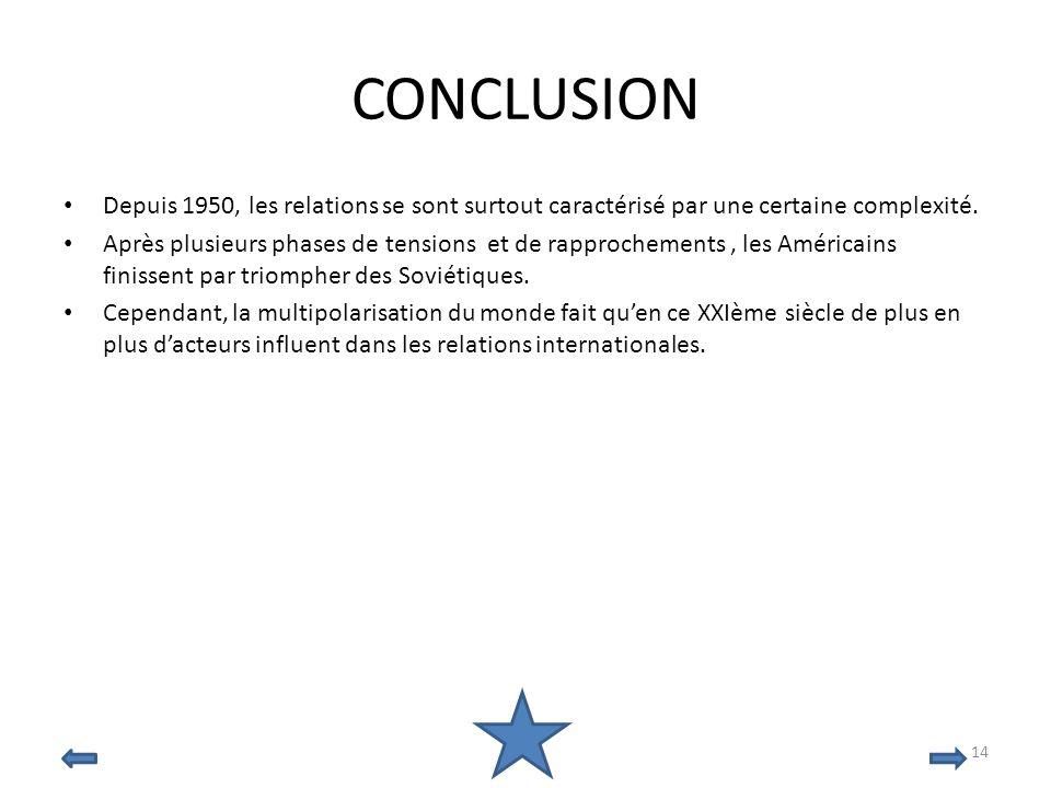 30/03/2017 CONCLUSION. Depuis 1950, les relations se sont surtout caractérisé par une certaine complexité.