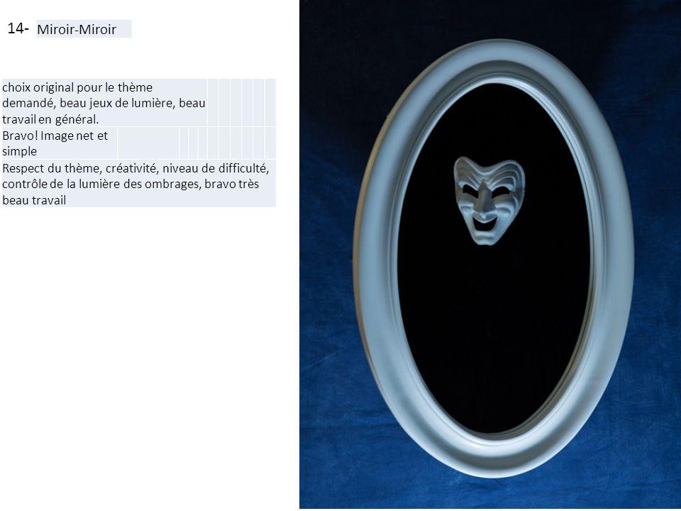 14- Miroir-Miroir. choix original pour le thème demandé, beau jeux de lumière, beau travail en général.